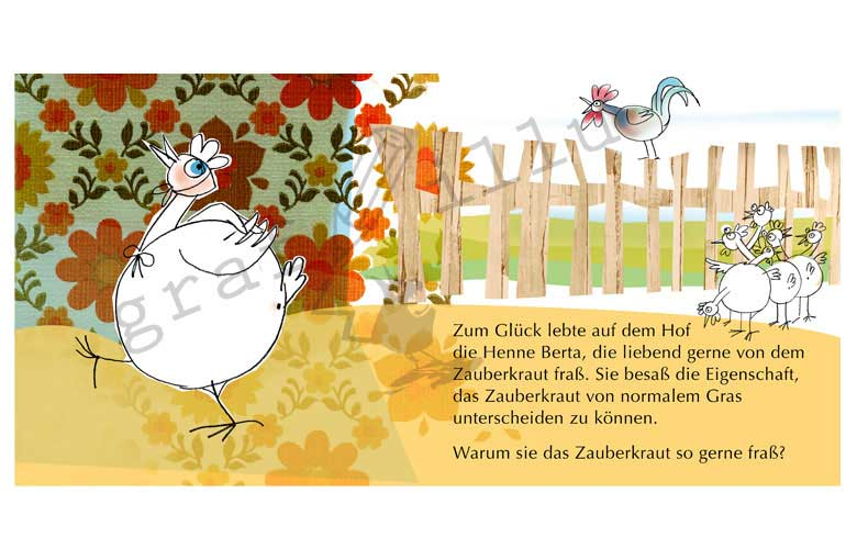 Das Huhn Berta: Illustration für Kinderbuch / Collage